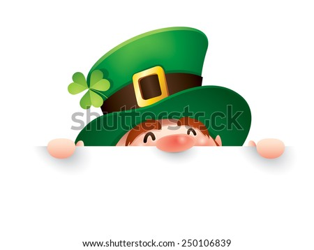 Leprechaun with big sign - stock vector