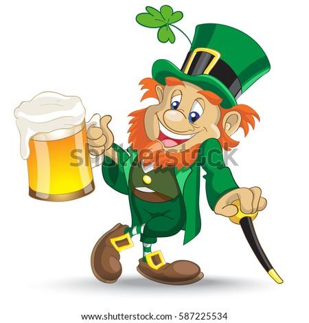 Leprechaun Cup Beer Stock Vector 587225534 - Shutterstock