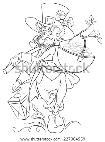 Leprechaun with gold coin pot of Saint Patrick Day. Colouring page. Also available colored version - stock vector