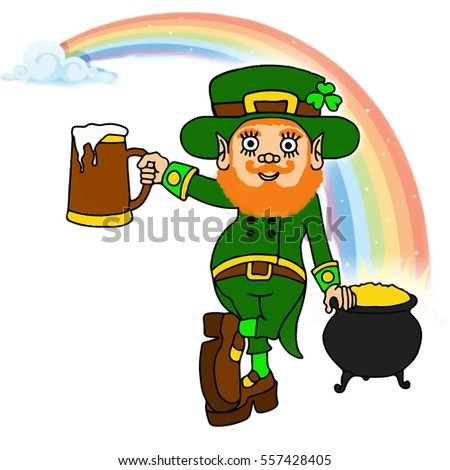 leprechaun with pot of gold and beer