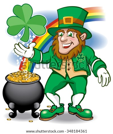 Leprechaun with rainbow shamrock and pot of gold