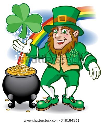 Leprechaun with rainbow shamrock and pot of gold - stock vector