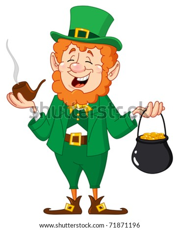 Leprechaun with smoking pipe and gold coin pot - stock vector