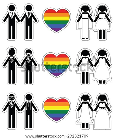 Lesbian brides and gay grooms icon 3 set with rainbow element  - stock vector