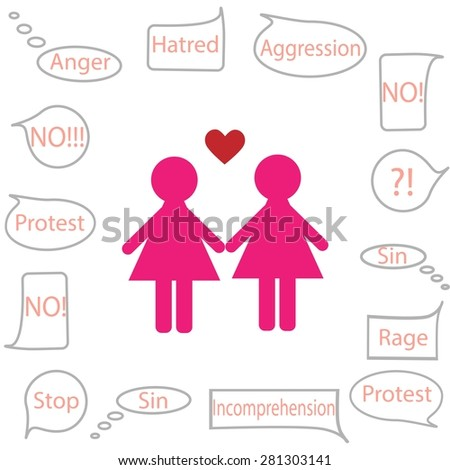 Lesbian icon on a white background with negative opinions of others. Vector illustration - stock vector
