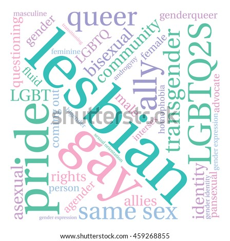 Lesbian word cloud on a white background.