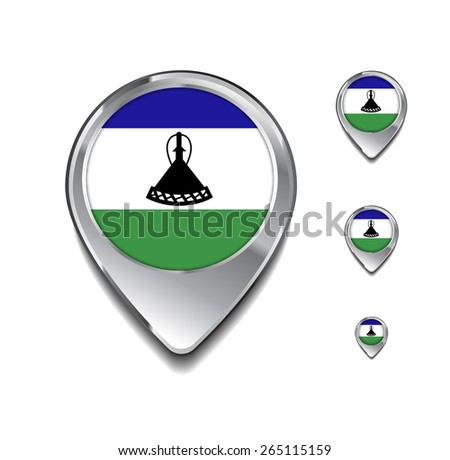 Lesotho flag map pointer. 3d Map Pointer with flag glossy button style on gray background - stock vector