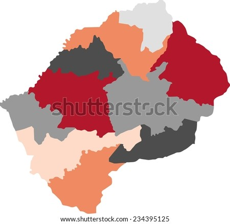 Lesotho Political Map Green Shades Map Stock Vector - Lesotho political map
