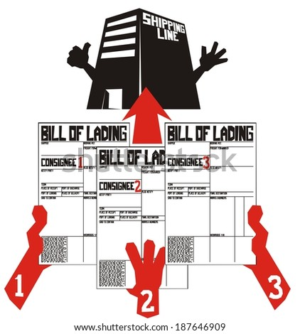 Less than container load (LCL) shipment in six illustrations (part 5) - Part load bills of lading are collected from respective consignees - stock vector