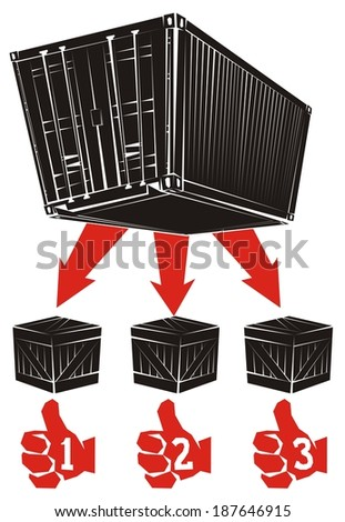 Less than container load (LCL) shipment in six illustrations (part 6) - Part shipments are delivered to consignees from the shipping container - stock vector