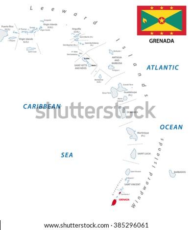 Lesser Antilles Outline Map With Grenada