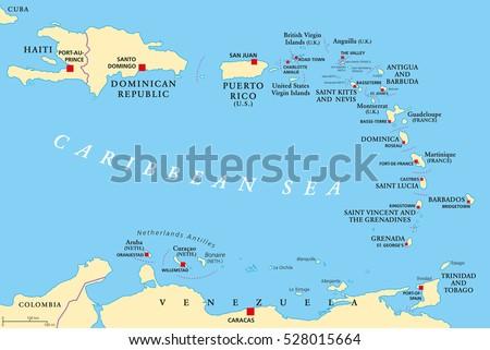 Lesser Antilles Political Map Caribbees Haiti Stock Vector