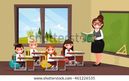 Lesson. A teacher with pupils in primary school classroom. Vector illustration of a flat design - stock vector