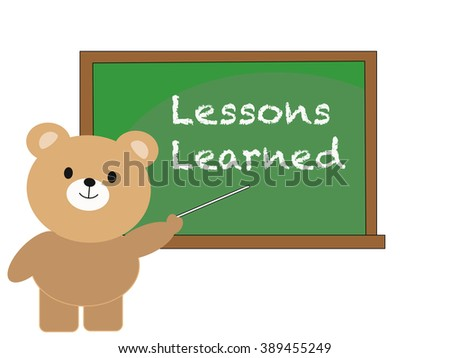 lessons learned concept with cartoon bear - stock vector