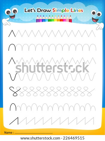 Let's' draw simple lines printable worksheet for preschool / kindergarten kids to improve basic writing skills - stock vector