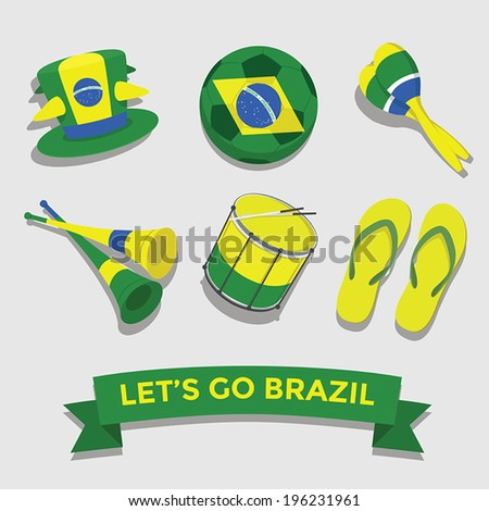 Let's go Brazil icon for cheering fan set - stock vector
