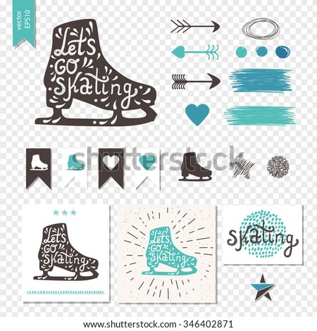 Let's Go Skating typography. Ice Skates label logo design. Skating boot on  transparent background with retro design elements: arrow, heart, banner, curls and star. Vector illustration. - stock vector
