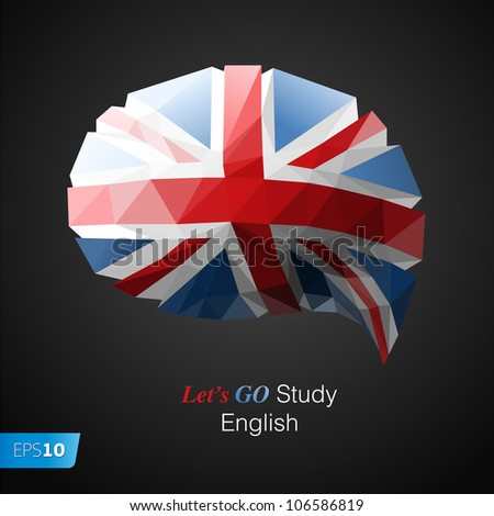 Let's go study English speech bubble background. Vector Eps10 illustration - stock vector