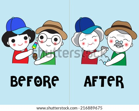 Let's Grow Old Together, You and Me illustration set - stock vector