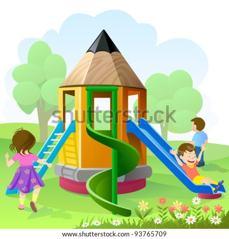 Let's Play And Slide - stock vector