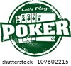 Let's Play Poker Vintage Stamp - stock vector