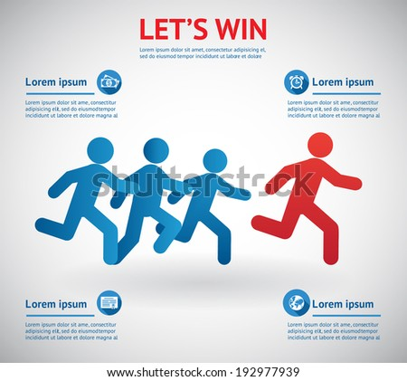 Let's win. People running for leader. Vector eps10 illustration - stock vector