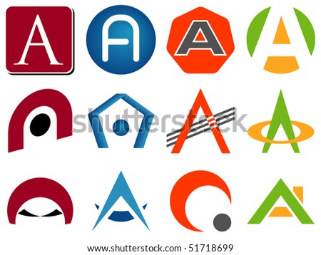 Letter A Alphabet Design Icons Set - stock vector