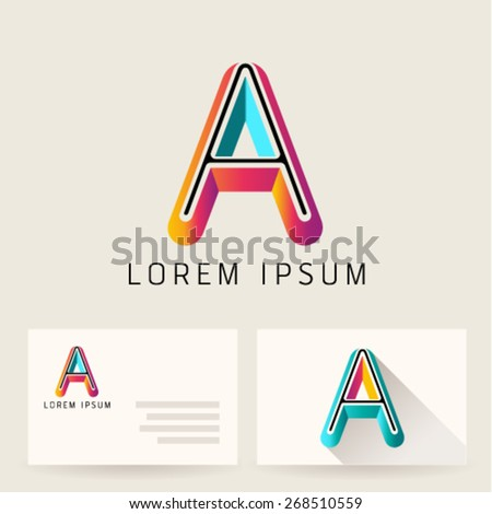 Letter A Alphabet Logo Icon Design Template Element. Vector Color Sign Easy Editable for Your Design. - stock vector