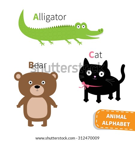 Letter A B C Alligator Cat Bear Zoo alphabet. English abc with animals Education cards for kids Isolated White background Flat design Vector illustration - stock vector