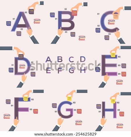 Letter A, B, C, D, E, F, G, H Flat Infographics Template and Web Elements - Business, Marketing Touch and Choose Concept Vector Design  - stock vector