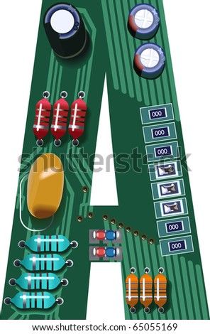 letter a circuit board - stock vector