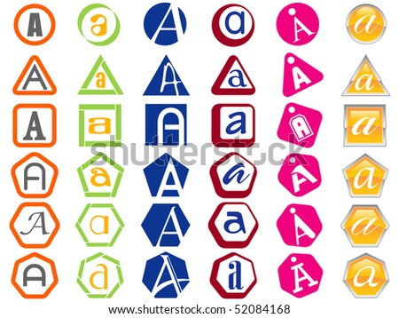 Letter A Icon Design Badges and Tags Set