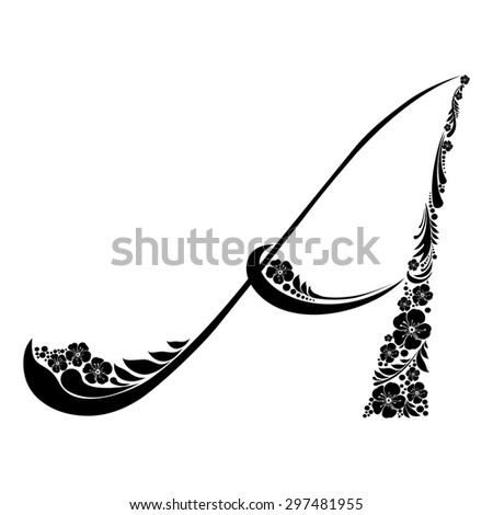 Letter A isolated on white. Romantic letter of beautiful flowers. Floral Alphabet. Vector Illustration - stock vector