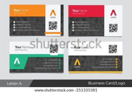 Letter A logo corporate business card - stock vector