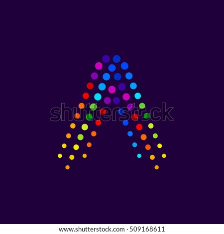 Letter A logo.Dots logo colorful,dotted shape logotype vector design