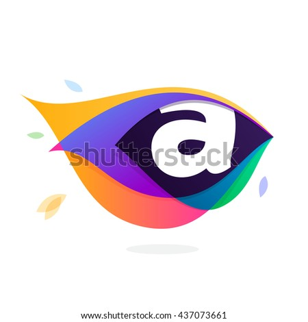 Letter A logo in peacock feather icon. Multicolor vector alphabet letters for app icon, corporate identity, card, labels or posters. - stock vector