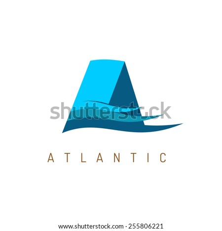 Letter A logo. Wide blue straight ribbons with horizontal color waves. Ocean theme. - stock vector