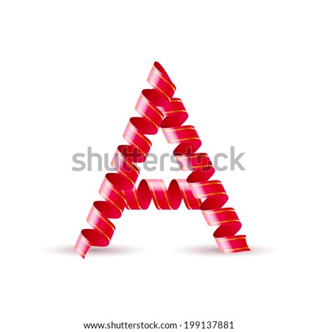 Letter A made of red curled shiny ribbon - stock vector