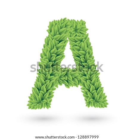 Letter A of green leaves with shadow. Vector illustration