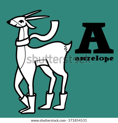 Letter a. Part of animals alphabet. Cartoon antelope wearing boots ang scarf. Coloring black and white. - stock vector
