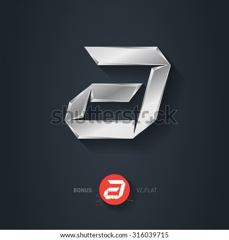 Letter A, Vector silver font. Elegant Template for company logo. Metallic Design element or icon. Pseudo origami style, including flat version. - stock vector