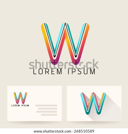 Letter Alphabet W Logo Icon Design Template Element. Vector Color Sign Easy Editable for Your Design. - stock vector