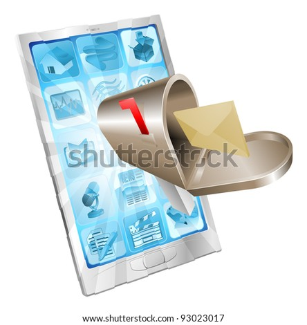 Letter and mailbox flying out of phone screen concept illustration. - stock vector