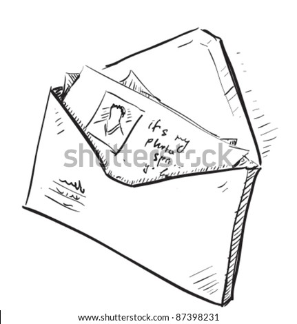 Letter and photos in envelope cartoon icon. Sketch fast pencil hand drawing illustration in funny doodle style. - stock vector