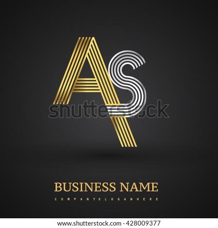 Letter Logo Design Elegant Gold Silver Stock Vector 428009377