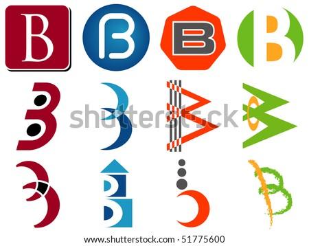 Letter B Alphabet Design Icons Set - stock vector