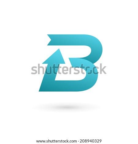 Letter B arrow ribbon logo icon design template elements. Vector color sign. - stock vector