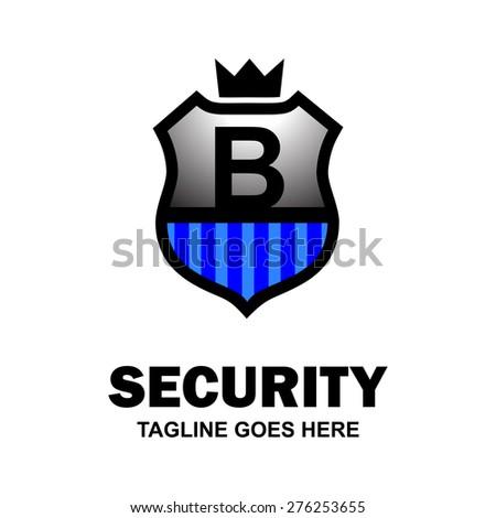 Letter b crest logo. Alphabet logotype vector design . heraldic shape shield . abstract symbol of security . Gray Blue Security Shield . vector illustration - stock vector