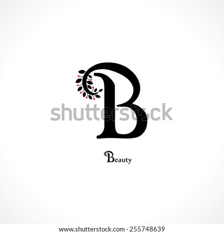 letter b in floral style - stock vector