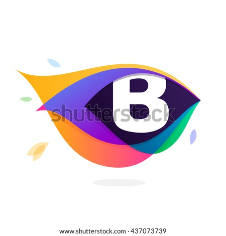Letter B logo in peacock feather icon. Multicolor vector alphabet letters for app icon, corporate identity, card, labels or posters. - stock vector